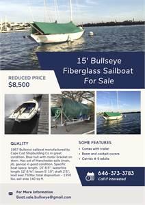 REDUCED PRICE: 15' Fiberglass Bullseye manufactured by Cape Cod Shipbuilding Co