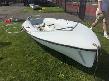 Two Vintage 420 Hulls with rudders, etc.