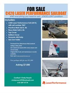 2015 c420 Laser Performance hull, sails, trailer, dynamic dolly